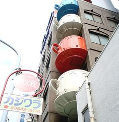 Coffee Cups built into an apartment building in Tokyo