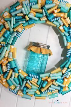 Shes {kinda} Crafty: Ball Mason Jar Inspired Wreath