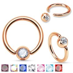 7 different colors to choose from of our Rose Gold IP Over 316L Surgical Steel Gem Set Ball Captive Rings from #Hollywood #Piercing #BodyJewelry #CaptiveRings