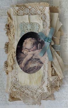 Mixed Media Fabric Collage Book of Little French Cherubs | eBay