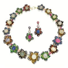 A multicolored sapphire, enamel, and diamond necklace and matching earring