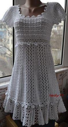 crochelinhasagulhas: Vestido branco em crochê by Vanessa Montoro