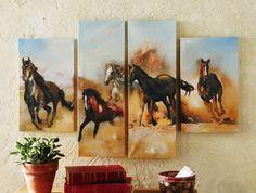 5 Piece COWBOY AND HORSES Decor Canvas Art Paintings wall decor