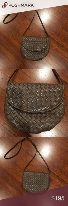 Bottega Veneta Mini Crossbody Cute crossbody with the perfect length strap. Fabulous for a night out when all you have are keys, cards, phone and lip gloss. The gathering at the bottom takes up some of the room inside, so bigger items like sunglasses and wallets may not fit. I don't have the dust bag and this bag doesn't have the Bottega Veneta code inside, but it has the logo with the titled O and the arrow shaped zipper pull. Also excellent quality leather and signature weave. Good…