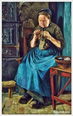 Emmery Rondahl (Danish, 1858-1914) «Interior with old knitting woman»