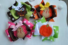 Medium Thanksgiving Boutique Bows  Felt Embroidered Samples
