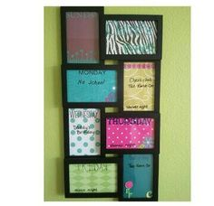 Frame from Walmart. Desgin each frame with scrapbooking suppiles , then use dry erase markers on the glass.