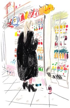 Evening TV host, Elisabeth Laurence, trying to decide between protein milk and diet soda at AM-PM Deli Grocery, after the Ralph Rucci presentation. Art Sketches, Art Drawings, Oil Pastel Drawings, Bel Art, Art Du Croquis, Art Et Illustration, Animal Illustrations, Illustrations Posters, Oil Pastel Art