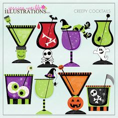 Creepy Cocktails Cute Digital Clipart for Card by JWIllustrations