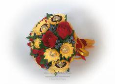 """Букет з цукерок """"Прощання з літом"""" із соняхів та троянд."""