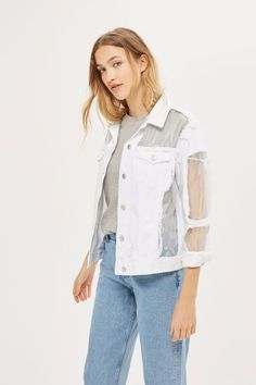 Revamp the denim jacket in this MOTO white version with cut out organza panels. A distressed look, this is a wardrobe must-have for the ultimate rebel-girl.