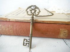 skeleton Key necklace painted key antique style by ShabbyRoad