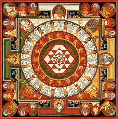The Sri Yantra is an ancient Indian mandala depicting the vibrational form that rishis (seers) envisioned during meditation whilst chanting the seed syllable OM. Motif Oriental, Indian Symbols, Yoga Symbols, Symbolic Representation, Spiritus, Buddhist Art, Sacred Art, Mandala Art, Sacred Geometry
