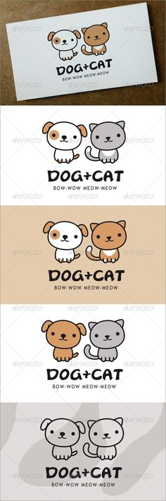 Dog + Cat  Logo Design Template Vector #logotype Download it here: http://graphicriver.net/item/dog-cat-logo/6433105?s_rank=264?ref=nesto