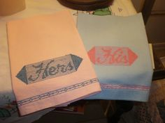Two Vintage His and Hers Handmade Embroidered by NeldaMaesCloset, $6.50