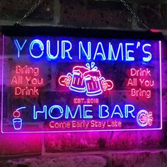 Personalisierte Ihr Name Custom Home Bar Neon Zeichen Bier | Etsy Custom Home Bars, Bars For Home, Custom Homes, Neon Light Signs, Led Neon Signs, Home Bar Signs, Personalized Beer Mugs, Neon Licht, Bar Led
