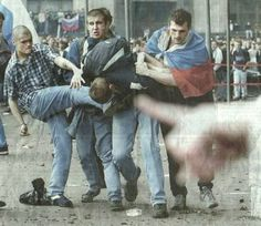 football hooligans. always fighting at the football in the 80's