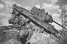 Destroyed Red Army KV-1 tank....