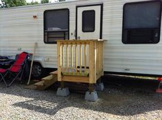 Sometimes the RV steps that came standard just don't get the job done. Building custom portable steps may be a better option. See this unique design....