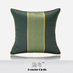 现代祖母绿绒面拼黄色飞边抱枕客厅沙发样板房酒店设计师高端方枕  Pillow