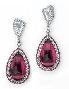 GABRIELLE'S AMAZING FANTASY CLOSET | American jeweller Martin Katz's Pear-Shaped Sugarloaf Pink Tourmaline & Diamond Earrings |