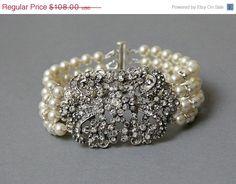 pearls and crystal bridal cuff bracelett