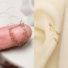 Helix Jewelry, Helix Earrings, Ear Jewelry, Cute Earrings, Cute Jewelry, Body Jewelry, Jewelery, Jewelry Accessories, Chain Earrings