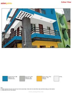 Color liked by customer and he likes blue shades with yellow and grey balcony gives great look to the building Springs Yellow Grey Exterior Color Combinations, Exterior Colors, Shade Card, Asian Paints, Page Number, Paint Shades, White Pages, Interior Walls, Color Names