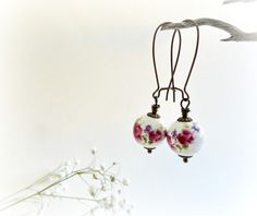Impatiens - pendientes largos florales, Bisutería, Pendientes
