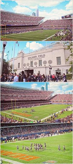 Go to a Bears game at Soldier Field Chicago Bears Stadium, Chicago Map, Chicago Hotels, Chicago River, Chicago Skyline, Chicago Cubs, Chicago Illinois, Chicago Attractions, Bears Game