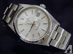 Mens Rolex Date Stainless Steel Watch Silver Dial Oyster Bracelet Quickset 15000 Rolex Watches For Men, Luxury Watches For Men, Rolex Presidential, Rolex Explorer Ii, Rolex Cellini, High End Watches, Rolex Day Date, Rolex Oyster Perpetual, Rolex Datejust