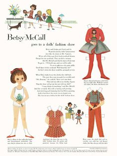 Bonecas de Papel: Betsy McCall goes to a doll's fashion show, 1959