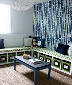 DIY-Bookshelf-Bench More ideas: http://www.decoist.com/2014-11-26/thanksgiving-extra-seating-ideas/