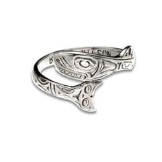 Sterling Silver Orca Ring. Made in USA.
