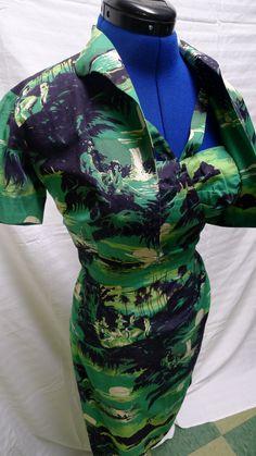 Amazing 1950s Alfred Shaheen True Sarong Hawaiian Dress with Bolero--S,M. $325.00, via Etsy.