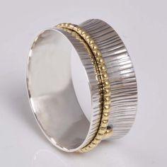 EXCLUSIVE 925 STERLING SILVER DESIGNER SPINNER RING 4.46g DJR7904 S-12 #Handmade #SpinnerRing