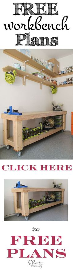 For your man cave in our OWN garage DIY Workbench plans! This is the perfect size workbench for small work spaces and it is easy to build! Garage Tools, Garage Workshop, Workshop Storage, Garage Shop, Workshop Ideas, Garage Plans, Small Workspace, Diy Workbench, Workbench Designs