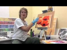 Poppies Painting with acrylic paint. Use Palette knife. Tutorial. Demo. Mohnblumen malen by ilonka - YouTube