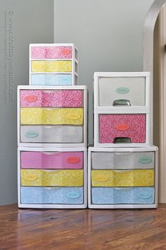 Makeover: Plastic Storage Drawers, Amanda Formaro, Crafts by Amanda - How to Tutorials Diy Plastic Storage Drawers, Diy Drawers, Plastic Bins, Fabric Storage, Storage Bins, Plastic Organizer, Plastic Shelves, Plastic Containers, Storage Ideas