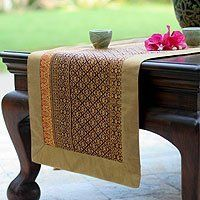 Shop for Handmade Silk Cotton 'Golden Wine' Table Runner (Thailand). Get free delivery On EVERYTHING* Overstock - Your Online Kitchen & Dining Store! Wine Table, A Table, Dining Table, Classic Beauty, Table Linens, Outdoor Furniture, Outdoor Decor, Table Runners, Home Kitchens