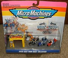 Micro Machines Biker Mice From Mars Collection #1 by Galoob Micromachines. $39.99. Produced by Galoob in 1993. Rare. Approximate size of each vehicle is 1.5 inches long. Approximate size of unopened packaging is 8.5 x 7 x 3 inches.