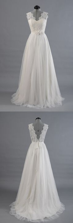 Simple Beach Wedding Dresses,Dresses For Brides,Bridal Gown from LaurelBridal Einfache Brautkleider, Brautkleider, Brautkleid White Lace Wedding Dress, Bridal Wedding Dresses, Dream Wedding Dresses, Wedding Attire, Ivory Wedding, Backless Wedding, Tulle Wedding, Lace Dress, Wedding Dress Chiffon