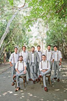 Bohemian Malibu wedding: Groom and groomsmen in suspenders and gray Groomsmen Outfits, Groom And Groomsmen Attire, Bridesmaids And Groomsmen, Grey Suit Groom, Fall Wedding Groomsmen, Wedding Tuxedos, Groom Outfit, Bride Groom, Gray Groomsmen Suits