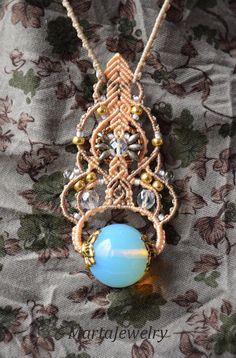 Opalite necklace bohemian macrame necklace boho por MartaJewelry