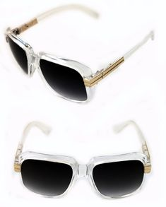 98175a6b03b3 Men s Hip Hop 80 s Vintage 607 Black Lens Sunglasses RUN DMC CLEAR GOLD  Retro  Unbranded  HIPHOP