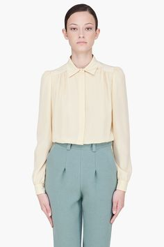CHLOE //  PALE YELLOW SILK BLOUSE