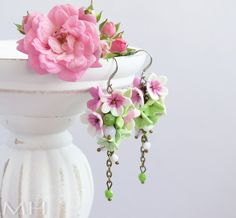 handmade polymer clay fimo earrings, bridal, floral, flowers