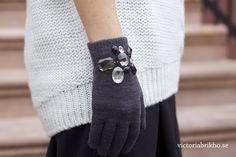 Add jewels to store-bought gloves for a bit of glam