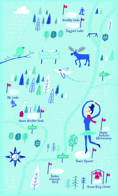 Illustrated map of ice rinks in Jackson, WY by Nate Padavick