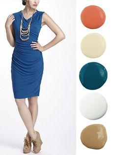 blue + coral + neutrals = beautiful color scheme!